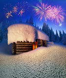 Alpine hut in the wild forests Royalty Free Stock Image