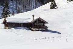Alpine hut in winter Stock Image
