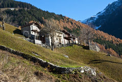 Alpine huts in autumn Stock Image