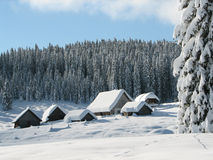 Alpine huts coverd with snow Royalty Free Stock Photography