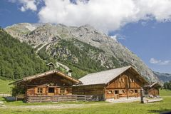 Alpine huts in the Eng in Tyrol Royalty Free Stock Image
