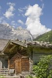 Alpine huts in the Eng in Tyrol. Idyllic huts on the alpine pastures of Eng in the heart of the Karwendel mountains in Tirol stock photo