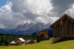 Alpine huts in Fuciade Royalty Free Stock Image