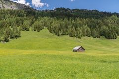 Alpine huts in the Natur park Riedingtal Zederhaus, Austria.  stock photo