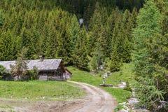 Alpine huts in the Natur park Riedingtal Zederhaus, Austria.  stock image