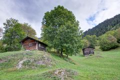 Alpine Huts in Valais Royalty Free Stock Photography