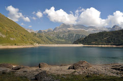 Alpine hydroelectric basin. The hydroelectric basin of Morasco, Formazza, Italy Royalty Free Stock Photography