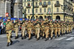 Alpine italian military forces during a parade stock photo