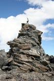 Alpine Karate Kid. On a rock spire on Mount Lockhart, Montana royalty free stock photo