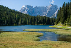 Alpine Lake. A stream flowing into an alpine lake Stock Images