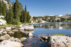 Alpine Lake. Along the Beartooth Highway in Wyoming Royalty Free Stock Photography