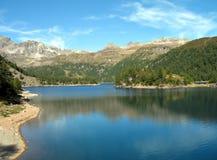 Alpine lake. Lago di Devero, hydroelectric basin, Ossola, Piemonte, Italy Royalty Free Stock Image