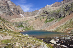 Alpine lake in Aosta valley, Italy. Lac Long, Valpelline Royalty Free Stock Image