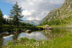 Alpine lake of Arpy in Aosta Valley Stock Images