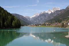 Alpine lake of auronzo and mountains Royalty Free Stock Images