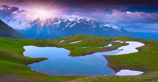 Alpine lake in the Caucasus Mountains. Stock Image
