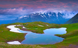 Alpine lake in the Caucasus Mountains. Stock Photo