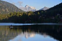 Alpine lake Champex stock photos