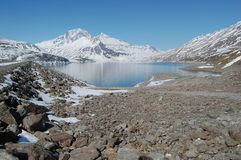 Alpine lake and dam stock images