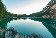 Alpine lake in Dolomites, Italy Royalty Free Stock Images