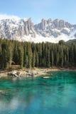 Alpine lake of Dolomites, Lake Carezza Stock Photos
