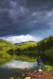 Alpine lake fishing Royalty Free Stock Photography