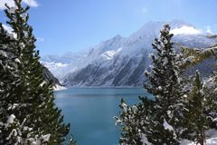 Alpine lake and forest in winter Royalty Free Stock Image