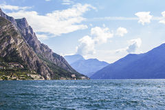 Alpine Lake Garda in the mountains Royalty Free Stock Photo