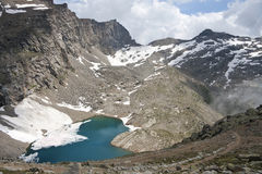 Alpine lake in the Gran Paradiso Park. Alpine lake in the valley of Ceresole Royal Park in the Gran Paradiso Stock Image