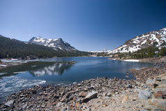 Alpine Lake in the High Sierra stock photography