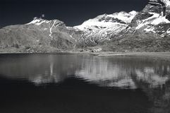 Alpine lake in infrared b&w Stock Photo
