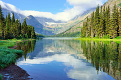 Alpine lake Josephine on the Grinnell Glacier trail in Glacier National Park Royalty Free Stock Image