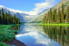 Alpine lake Josephine on the Grinnell Glacier trail in Glacier National Park Royalty Free Stock Photos