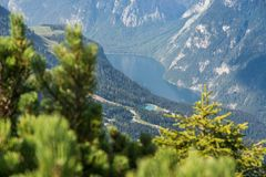 Alpine lake Königsee in Germany through the trees royalty free stock photo