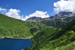Alpine lake (lago) dam Morasco, Formazza valley, Italy Stock Photography