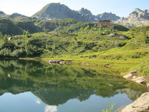 Alpine Lake. Alpine landscape near a shelter. The peaks, the trees and the lawns are reflected in an alpine lake Stock Photos