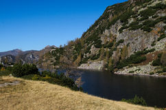 Alpine Lake. Alpine landscape with a lake and steep slopes Stock Images