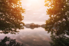 Alpine lake landscape with trees, church on the island and reflection in the water Stock Photos