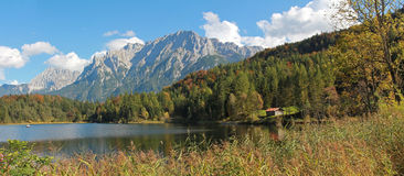 Alpine lake lautersee and karwendel mountains in autumn Royalty Free Stock Photo