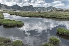 Alpine lake mirror reflecting the summer skies. Surrounded by alpine vegetation, in Retezat Mountains, Romania Royalty Free Stock Photography