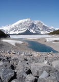 Alpine lake and mountain stock image