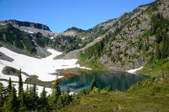 Alpine lake and mountain landscape Stock Images