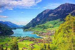 Alpine lake and mountain landscape in central Switzerland Royalty Free Stock Photos