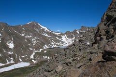 Alpine lake on Mt Evans, Colorado. Rugged Mountains surround an alpine lake royalty free stock photos