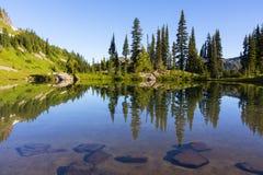 Alpine Lake on Naches Peak Loop Trail in Mt Rainier NP Stock Image