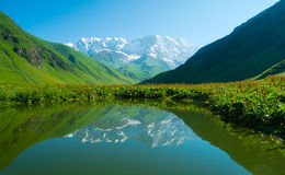 Alpine lake near Ushguli, Georgia. Royalty Free Stock Photo