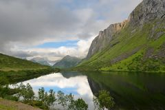 Alpine lake in the northern Norwegian mountains Royalty Free Stock Image