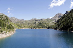 The alpine lake. With peaks Stock Photography