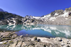 Alpine lake at Presena glacier, Dolomites mountain, Italy. Royalty Free Stock Photography