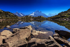 Alpine lake reflection in the French Alps Royalty Free Stock Image